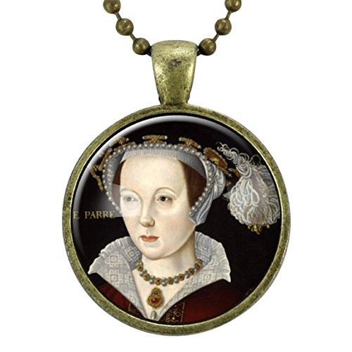 Catherine Parr Necklace, Queen of England Tudor Portrait Pendant, Henry VIII, Bronze ()