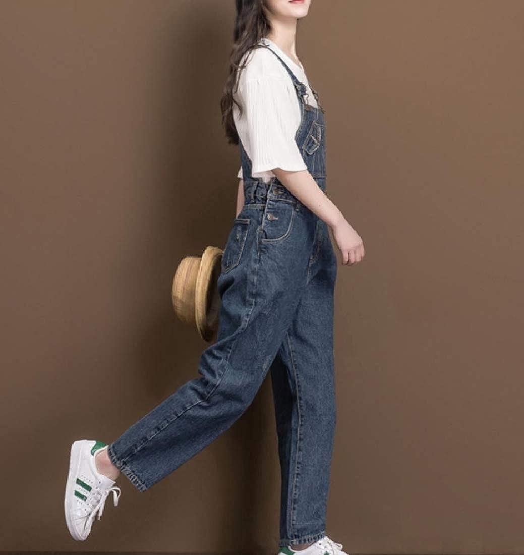 Abetteric Women Overalls Adjustable Shoulder Straps Vogue Jeans Pants
