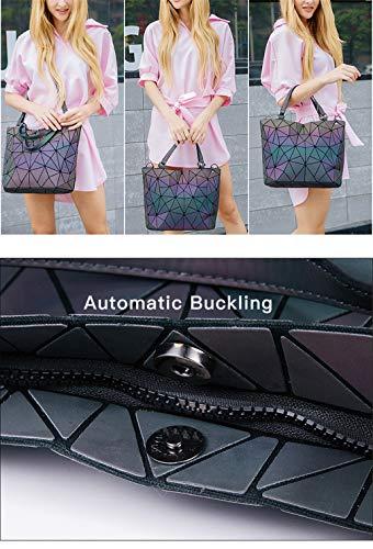 Eco Borse Di Portafogli Decorative friendly Geometriche Luminose Borsa Shard Grandi E Arcobaleno Dimensioni Black Lattice fwxPw50q