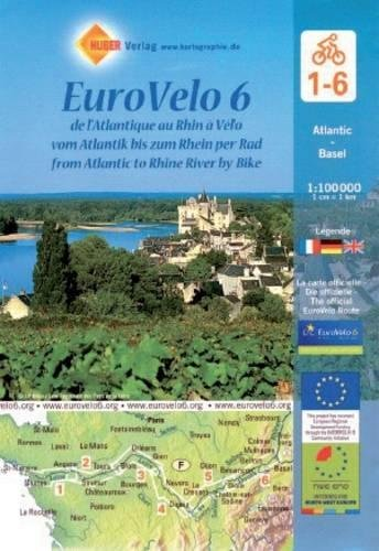 Eurovelo 6: from Atlantic to Rhine River Cycling Map (6 maps) 1:100K (English, French and German Edition) (Cycling Maps)