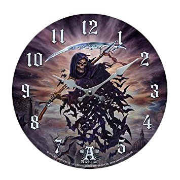 (Tithe To Hell Grim Reaper Bat Morph Wall Clock By Alchemy Gothic Round Plate 13.5