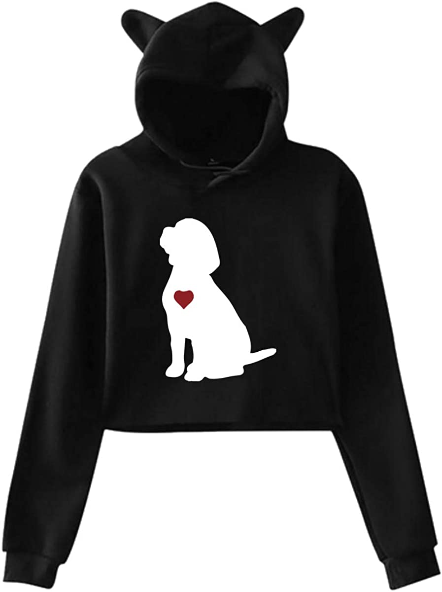 Beagle Puppy Dog Silhouette Cute Cat Ear Crop Top Hoodie Sweatshirt for Women Teen Girls