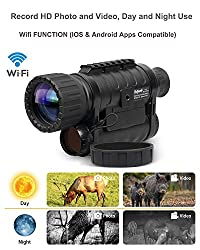 Bestguarder WG-50PLUS 6x50mm WiFi Digital Night Vision Infrared IR Monocular with Camera & Camcorder Function Takes 12mp Photo & 720p Video from 1300ft Distance for Night Hunting or Viewing