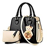 Lovely Women 2 Piece Tote Bag PU Leather Top Handle Handbag Purse Bags Set (black)