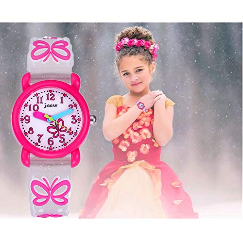 ele ELEOPTION Waterproof Kids Watches Children Analog Quartz Wristwatches 3D Cute Cartoon Design with Super Soft Silicone Band Shock Resistant for Boys Girls as Time Teacher (Butterfly -Pink)