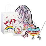 Unicorn Gifts for Girls, Unicorn Goodie Bags, Unicorn BackPack, Necklace Bracelet Keychain BackPack Gift Card Set (Pink)