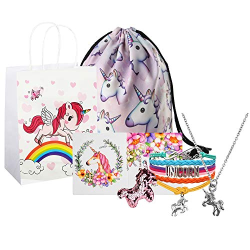(Unicorn Gifts for Girls, Unicorn Goodie Bags, Unicorn Backpack, Necklace Bracelet Keychain Backpack Gift Card Set)