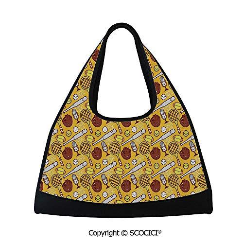 Orange Mini Mitt Chair - Fitness bag,Cute Cartoon Baseball and Tennis Summer Background Bats Gloves Microphone,Bag for Women and Men(18.5x6.7x20 in) Yellow Brown White
