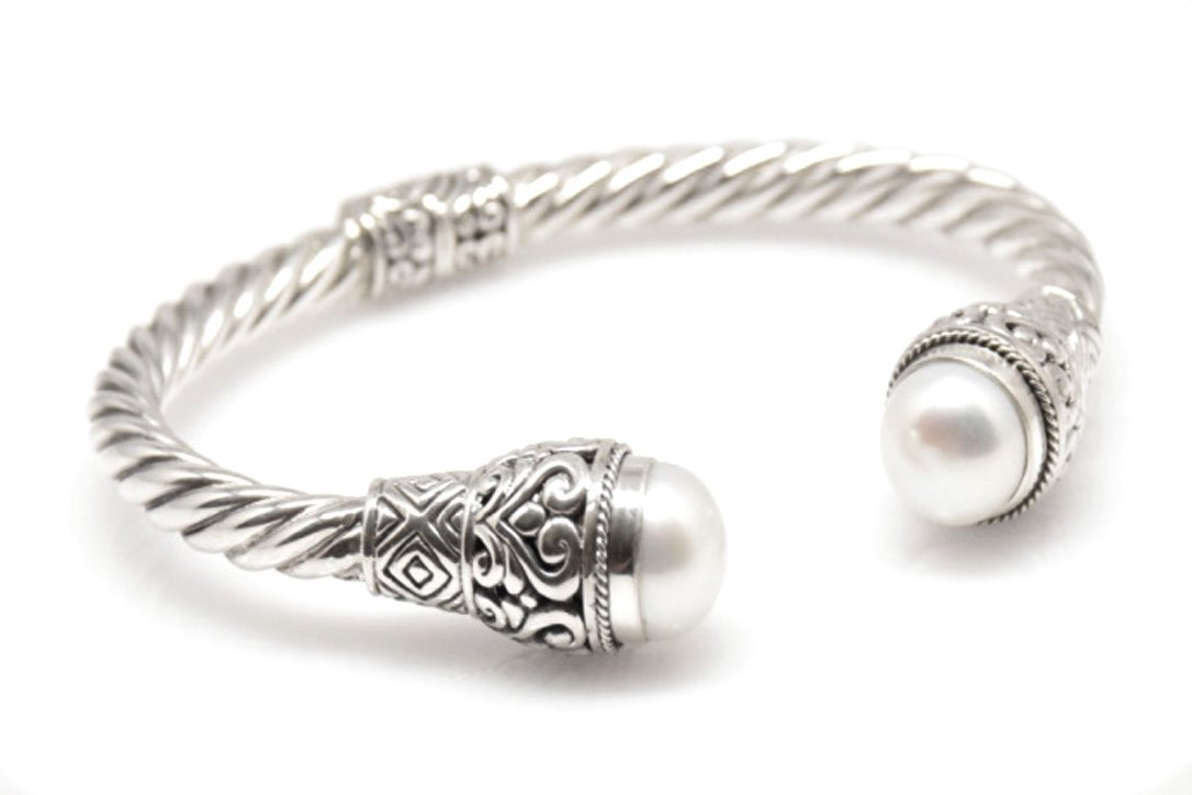 BluSilver 925 Sterling Silver Hinged Twisted Cable Cuff Bracelet with Filigree and White Cultured Mabe Pearl End Caps