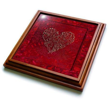 3dRose trv_17466_1 Gold Heart Design on Scarlet Red Trivet with Ceramic Tile, 8 by 8