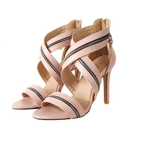 Femmes Peep Toe Sandales Extrême Escarpins Talons Hauts Strappy Wedding Party Court Chaussures Pink 4CJ3v6XB