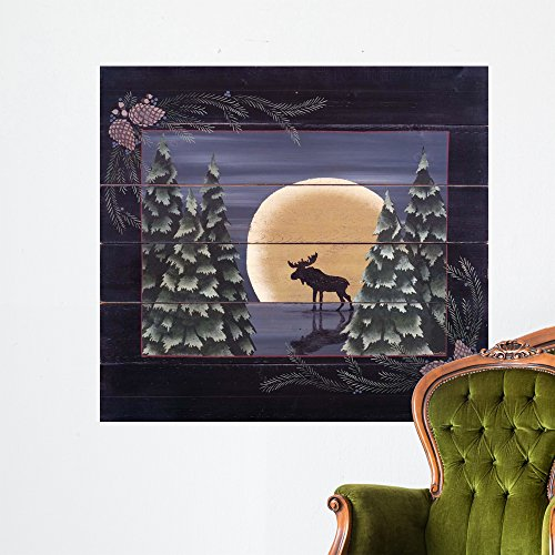 Wallmonkeys Moonlight Moose Wall Mural by Susan Clickner (48 in W x 44 in H) WM135000 -