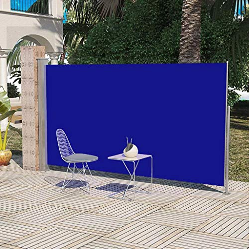 Festnight Retractable Folding Side Awning Screen Fence Patio Garden Blue Outdoor Privacy Divider with Steel Pole Waterproof Wind Screen 5.8' x 9.8' (H x W)
