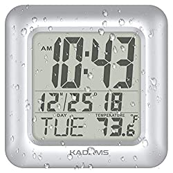 KADAMS Digital Bathroom Shower Wall Clock, Waterproof for Water Spray, Temperature, Seconds Counter, Moisture Proof, Large Display, Calendar Month Date Day, Suction Cup Stand Hanging Hole SILVER FRAME