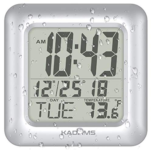 KADAMS Digital Bathroom Shower Wall Clock, Waterproof for Water Spray, Temperature, Seconds -