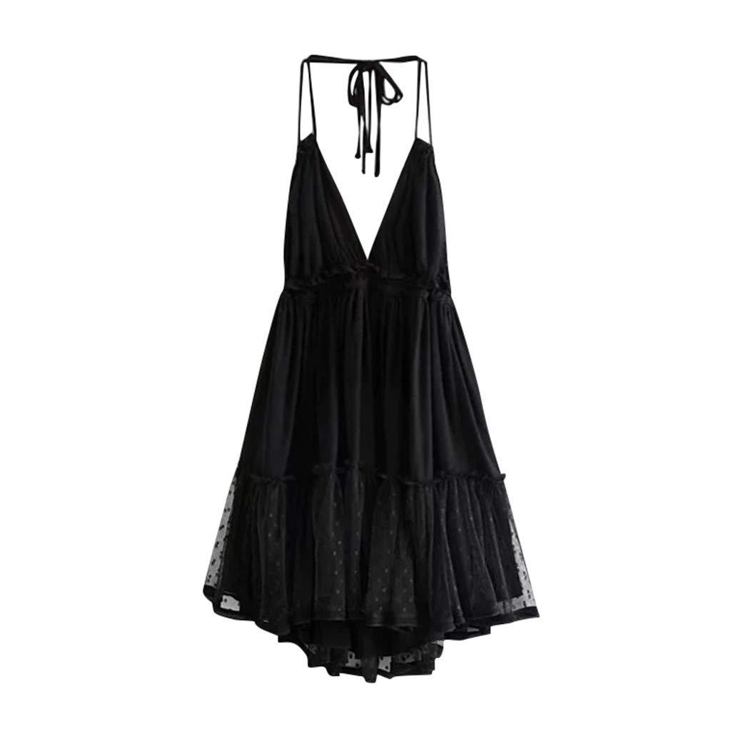 Mysky Women Popular Sexy Deep V-Neck Backless Halter Cocktail Dress Ladies Summer Casual Pleated Ruffle Mini Dress Black