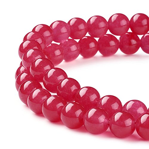 Pandahall 1Strand/50pcs Natural Grade A White Jade Round Beads Stone Dyed 8mm for DIY Jewelry Making 15