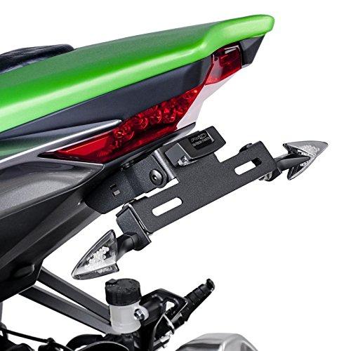 Motorrad Kennzeichenhalter mit Beleuchtung Nummernschild Kawasaki Z1000 14-18 Puig schwarz