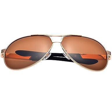 Leben pour homme Verres polarisés pour lunettes de soleil avec cadre en métal de conduite escalade pêche d'équitation - - Doré iRfsJyytWR,