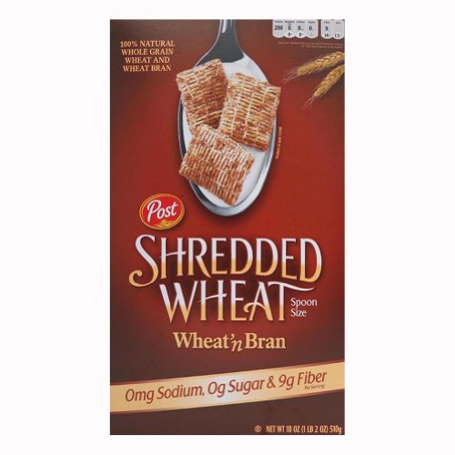 Wheat Bran Cereal - Post Shredded Wheat ' Bran, Spoon Size, 18-Ounce Boxes (Pack of 5)