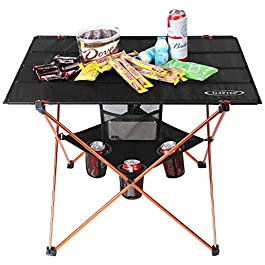 Portable Folding Camp Table Large Camping Table with 4 Cup Holders and Carrying Bags for Indoor and Outdoor Picnic Tailgating BBQ Beach Hiking Travel Fishing Fishing(Orange Large with Cup Holder)
