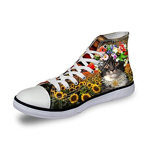För U Designar Kawaii Kattunge Katt Kvinnor Tygskor Hög Topp Platt Sneaker Cat 3