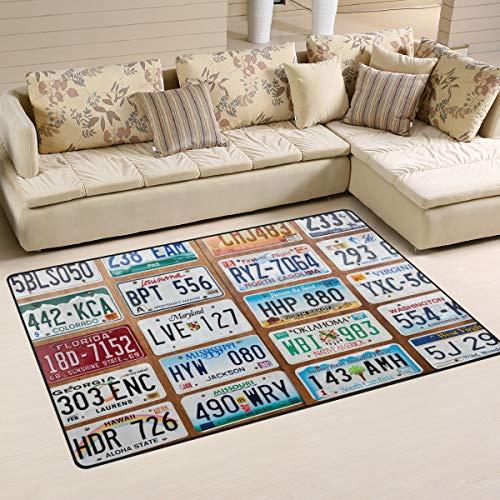 ALAZA Vintage Area Rug,Car Number Plates Floor Rug Non-Slip Doormat for Living Dining Dorm Room Bedroom Decor 31x20 Inch ()
