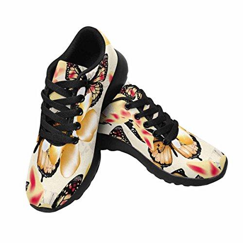 Interestprint Mujeres Jogging Running Sneaker Ligero Go Easy Walking Casual Comodidad Zapatos Corrientes Vintage Butterflies For Design Multi 1
