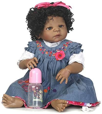 "Black Skin Real Life 20/"" Reborn African Baby Doll Full Vinyl Kids Bath Toy"