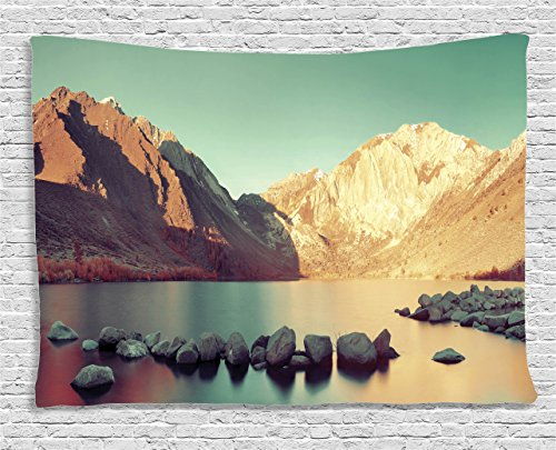 Ambesonne Lake House Decor Collection, Snow Mountain and Convict Lake with Reflections in Yosemite Countryside Scene, Bedroom Living Room Dorm Wall Hanging Tapestry, 60 X 40 Inches, Green -