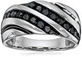 Men's Sterling Silver 1 cttw Black Diamond Ring, Size 11