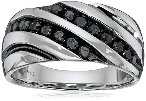 Men's Sterling Silver 1 cttw Black Diamond Ring, Size 11
