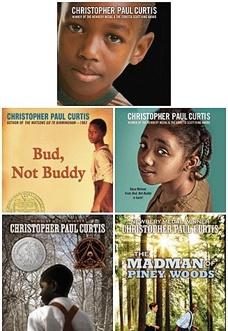 Christopher Paul Curtis Set of 5 Award Winning Paperbacks Includes the Madman of Piney Woods, the Watsons Go to Birmingham, Bud, Not Buddy, Elijah of Buxton & the Mighty Miss Malone