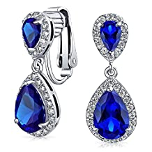 Bling Jewelry Crown Set Blue CZ Double Teardrop Bridal Clip On Earrings Rhodium Plated Brass