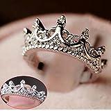 Fashion Princess Silver Rhinestone Crown Wedding Rings Size 7 8 9