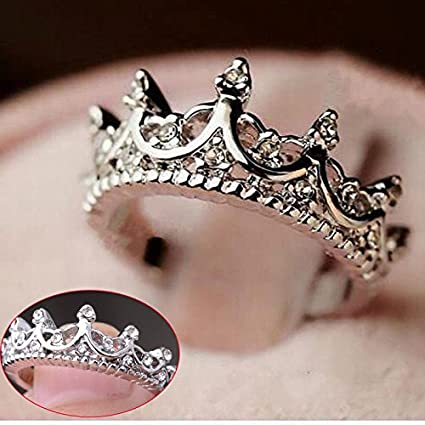 Sterling Silver Princess Crown Ring Sizes 4-12 4 Colors
