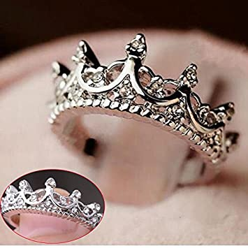 fashion princess silver rhinestone crown wedding rings size 7 8 9 - Crown Wedding Ring