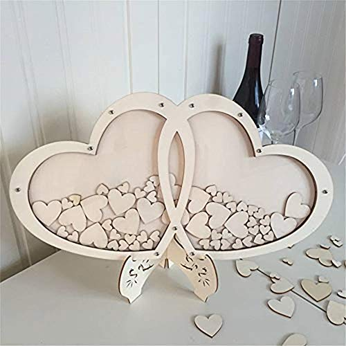 YADANER Personalised White Wedding Double Heart Shaped Wooden Drop Box Wedding Guest Book Alternative 100 Hearts Wedding