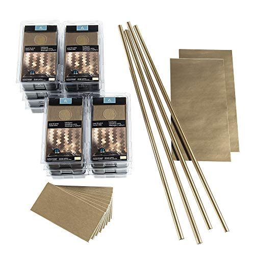 Aspect Peel and Stick Backsplash 3in x 6in Brushed Champagne Long Grain Metal Tile 15 Sq Ft Kit for Kitchen and Bathrooms