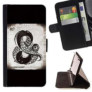 BullDog Case - FOR/Apple Iphone 4 / 4S / - / AND SIGN KRAKEN SEA MONSTER BLACK /- Monedero de cuero de la PU Llevar cubierta de la caja con el ID Credit Card Slots Flip funda de cuer