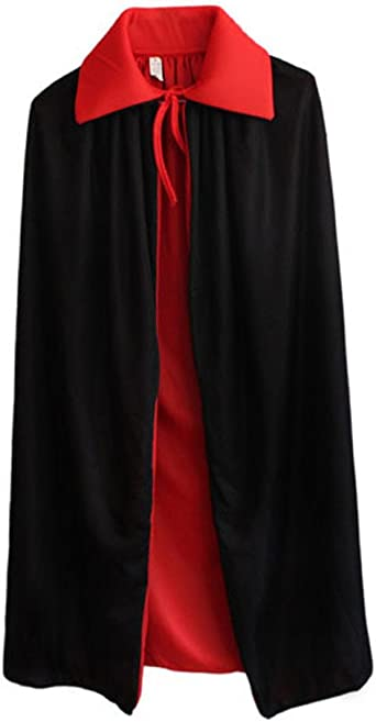 non-branded Capa de Vampiro Rojo Negro Adultos Capa de Cosplay Fiesta de Disfraces de Halloween Capa de Cosplay de Mascarada