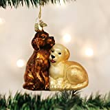 Old World Christmas Ornaments: Puppy Love Glass Blown Ornaments for Christmas Tree