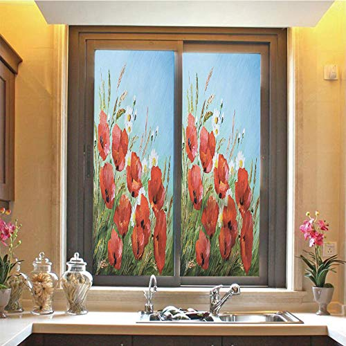 Flower 3D No Glue Static Decorative Privacy Window Films, Greek House with Flowers Garden Seascape and Mountain Scenery Picture,17.7