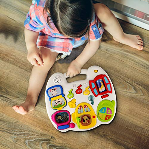 Biulotter Musical Table, Toddler Activity Table Musical Learning Table Early Education Music Toddler Activity Center Game Table for Baby Toys for 1 2 3 Years Old Boys and Girls Lighting and Sound Toys