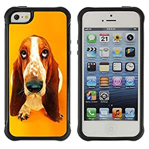 BullDog Case@ Basset Hound Drop Pendant Ear Dog Rugged Hybrid Armor Slim Protection Case Cover Shell For iphone 5S CASE Cover ,iphone 5 5S case,iphone5S plus cover ,Cases for iphone 5 5S