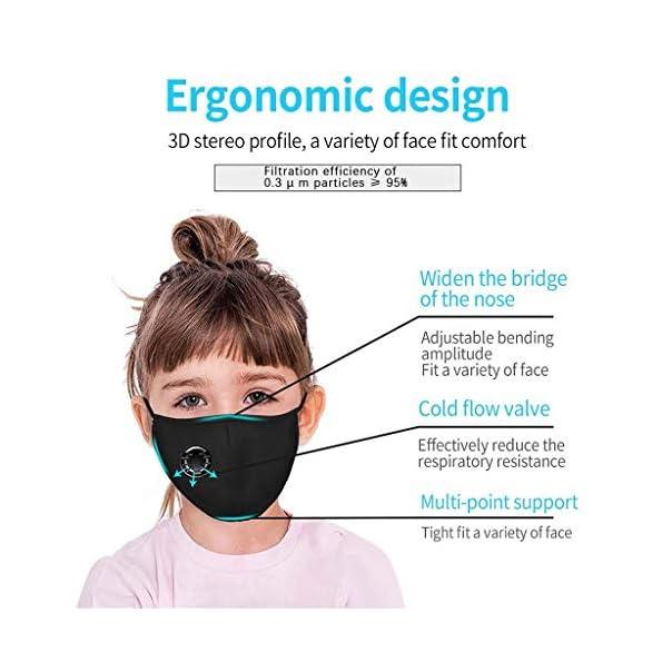 AmyGline-Outdoor-Baumwolle-Gesichtstuch-Mundschutzmit-AktivkohlefilterWiederverwendbarWaschbarAnti-StaubAtmungsaktivGrau-Schwarzfr-Radfahren-Motorrad-2-Kinder-Schwarz