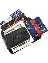 Men's Leather Front Pocket Card Holder Wallet with Magnetic Money Clip
