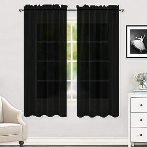 "HUTO Black Sheer Curtains 63 Inch Length for Bedroom Rod Pocket Sheer Window Panels for Nursery Living Room, 52"" Wx63 L,Set of 2"