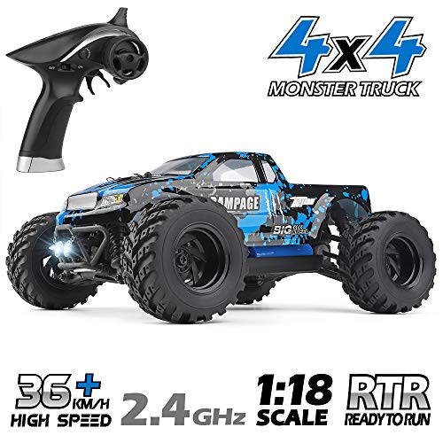 HAIBOXING RC Cars 1/18 Scale 4WD Off-Road Monster Trucks with 36+KM/H High Speed, 2.4 GHz Remote-Controlled Electric All Terrain Waterproof Vehicles with Rechargeable Battery for Kids and Adults RTR (Powered Cars Gas)
