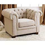 Abbyson RJ Kids Mini Fabric Chesterfield Club Chair in Beige For Sale